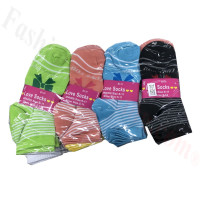 Women Strip & Bow Tie Low Cut Socks DZ (12 Pairs) - Assorted Color