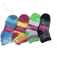Women Wide Strip Low Cut Socks DZ (12 Pairs) - Assorted Color
