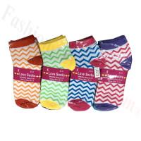 Women Mini Zigzag Print Low Cut Socks DZ (12 Pairs) - Assorted Color