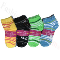 Women Colored Strip Socks Dozen (12 Pairs) - Assorted Color