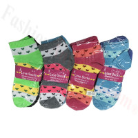 Women Mini Heart Print Low Cut Socks DZ (12 Pairs) - Assorted Color