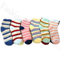 Ladies Fuzzy Striped Socks Dozen (12 Pairs) - Assorted Color