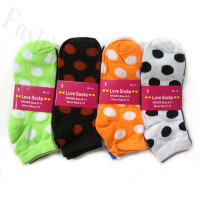 Women Big Dot Print Socks Dozen (12 Pairs) - Assorted Color