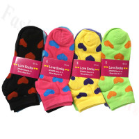 Women Heart Print Socks Dozen (12 Pairs) - Assorted Color