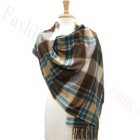 Cashmere Feel Plaid Shawl Brown / Blue