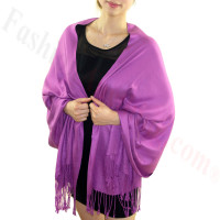 Silky Soft Solid Pashmina Scarf Violet Red