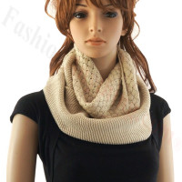 Knitted Infinity Scarf Beige