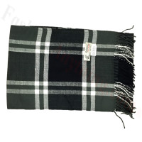 Woven Cashmere Feel Windowpane Scarf Z23 Black / Grey