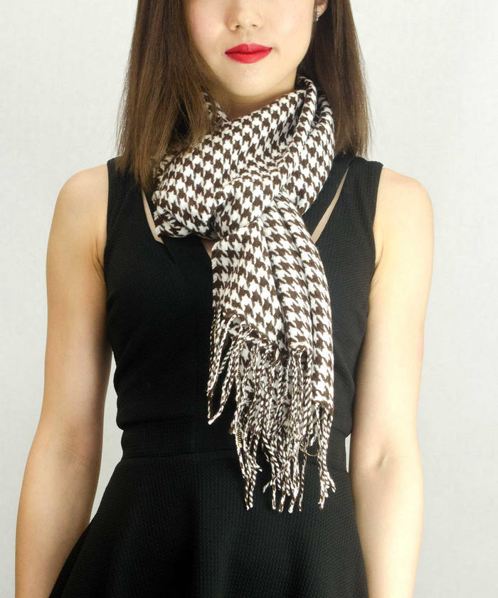 Cashmere | Tooth | Scarf | Small | Brown | White