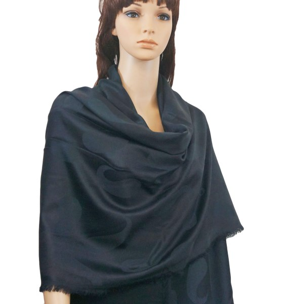 Pure Paisley Pashmina Wrap Black