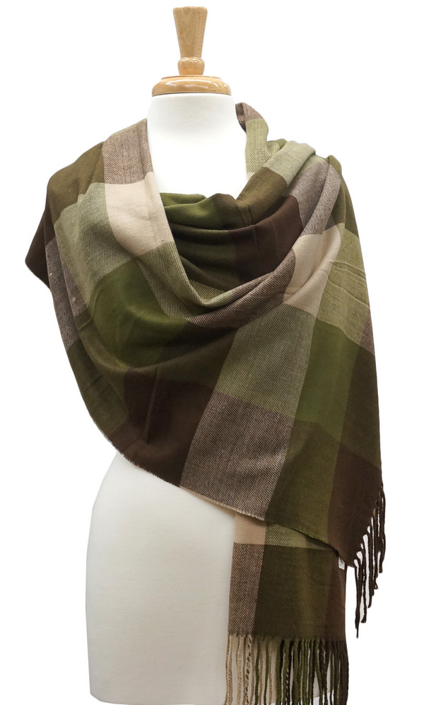 Cashmere | Shawl | Brown | Green | Army