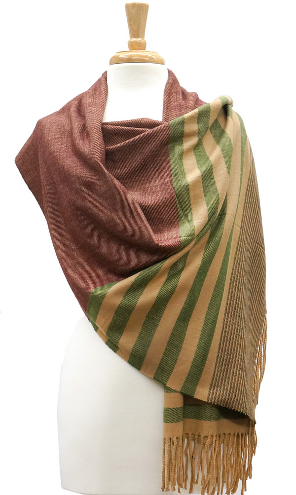 Cashmere | Stripe | Shawl | Green | Rust | Red