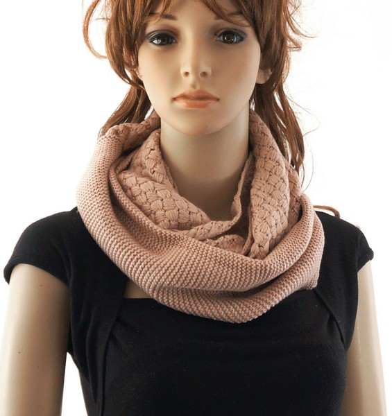 Knitted Infinity Scarf Peach